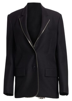 Alexander Wang Oversized Wool-Blend Zip Lapel Blazer