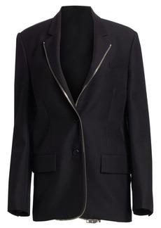 Alexander Wang Oversized Wool-Blend Zip Lapel Blazer