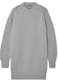 Alexander Wang Oversized Zip-detailed Ribbed Merino Wool Sweater