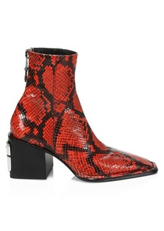 Alexander Wang Parker Square-Toe Python-Embossed Leather Ankle Boots