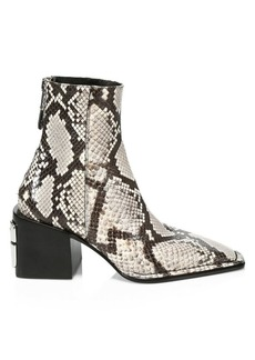 Alexander Wang Parker Square-Toe Snakeskin-Embossed Leather Ankle Boots