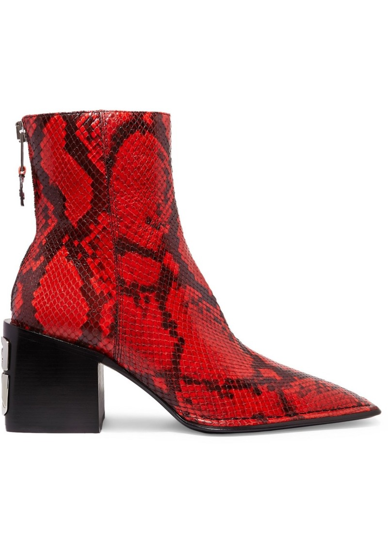 Alexander Wang Parker Snake-effect Leather Ankle Boots