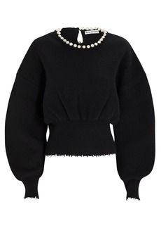 Alexander Wang Pearl Necklace Wool-Cashmere Sweater