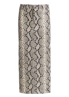 Alexander Wang Peg Snake-Print Leather Midi Skirt