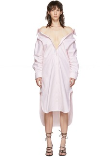 Alexander Wang Pink & White Falling Shirt Dress