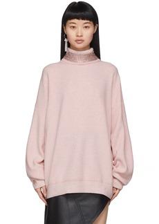 Alexander Wang Pink Wool Crystal Collar Turtleneck
