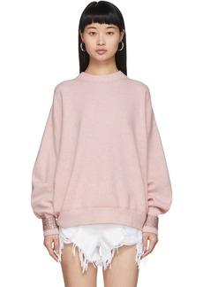 Alexander Wang Pink Wool Crystal Cuffs Sweater
