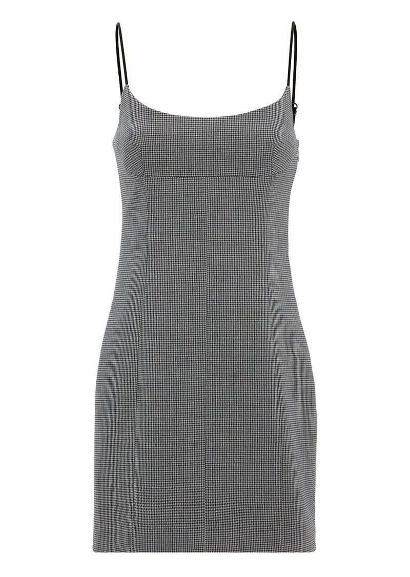 Alexander Wang Plaid Scoop Neck Tailored Mini Dress