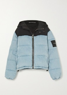 Alexander Wang Puffer Hybrid Hooded Quilted Padded Denim And Shell Jacket