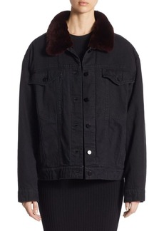 Alexander Wang Rabbit Fur & Denim Jacket