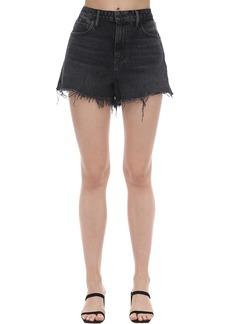 Alexander Wang Raw Cut Hem Cotton Denim Shorts
