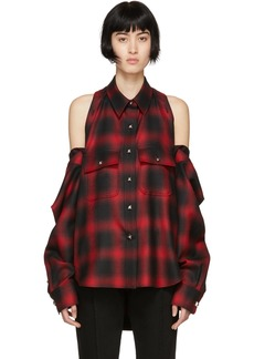 Alexander Wang Red & Black Check Button-Off Shirt