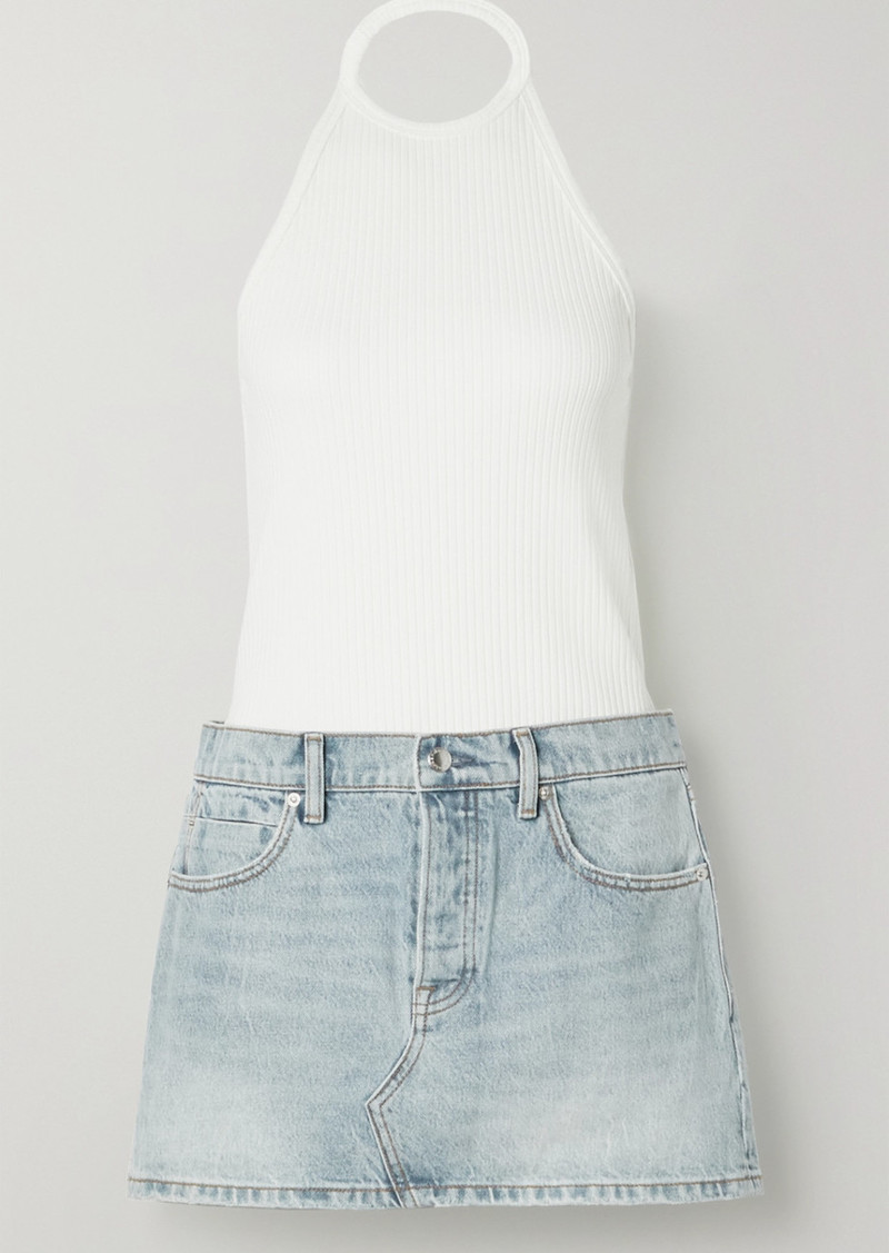 Alexander Wang Ribbed Cotton-jersey And Denim Halterneck Dress