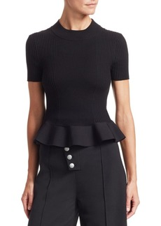 Alexander Wang Ruffled Hem Ribbed Top