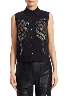 Alexander Wang Safety Pin Embellished Sleeveless Blouse