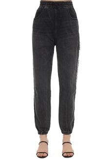 Alexander Wang Side Logo Band Cotton Denim Track Pants