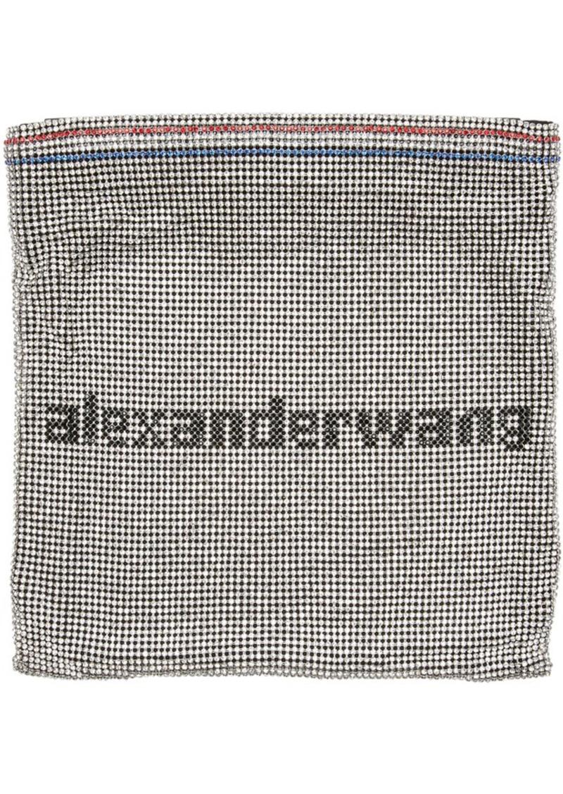Alexander Wang Silver Rhinestone Chain Mesh Wangloc Pouch