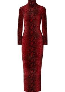 Alexander Wang Snake-print Chenille Turtleneck Midi Dress