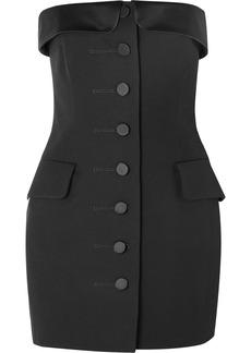 Alexander Wang Strapless Silk Satin-trimmed Wool-gabardine Mini Dress