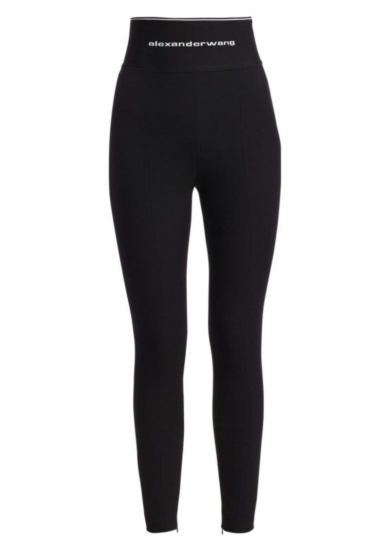 Alexander Wang Stretch Wool-Blend Twill Logo Band Leggings