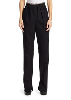 Alexander Wang Studded Pleated Wool Trousers