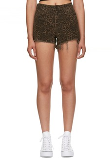 Alexander Wang Tan Leopard Denim Bite Shorts