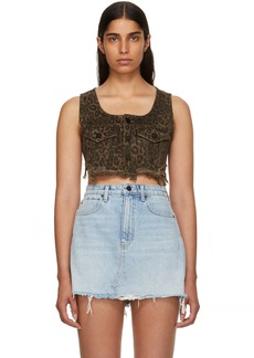 Alexander Wang Tan Leopard Denim Cropped Tank Top