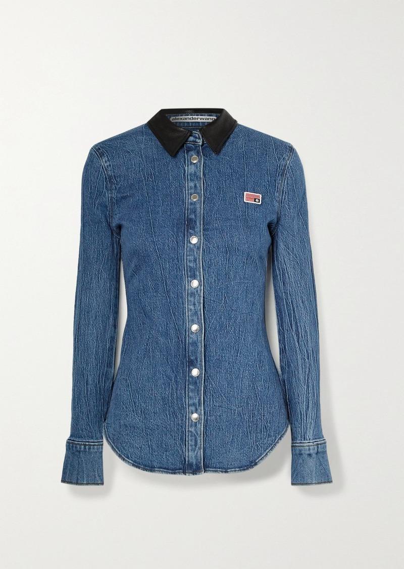 Alexander Wang Textured Leather-trimmed Denim Shirt