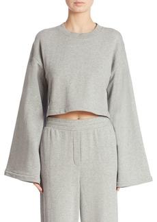 Alexander Wang Tie-Back Bell-Sleeve Cropped Sweatshirt