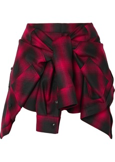 Alexander Wang Tie-front Checked Wool-flannel Shorts