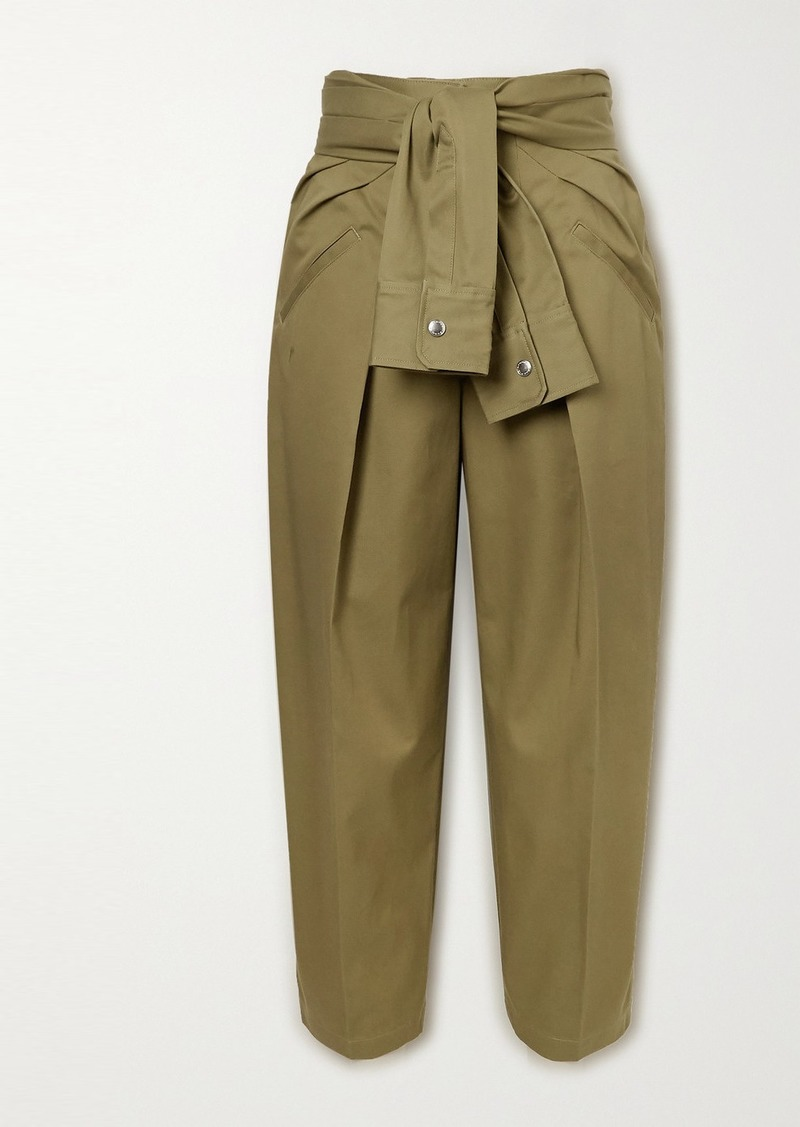 Alexander Wang Tie-front Cotton-twill Tapered Pants
