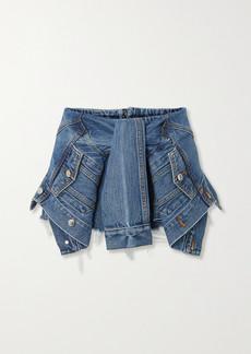Alexander Wang Tie-front Distressed Denim Shorts