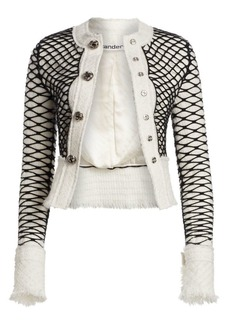 Alexander Wang Tweed Fishnet Frayed-Edge Jacket