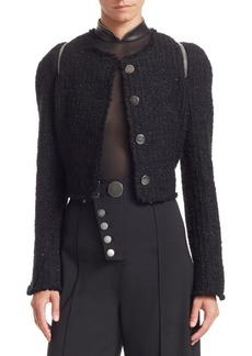 Alexander Wang Tweed Zipper Trim Fitted Jacket