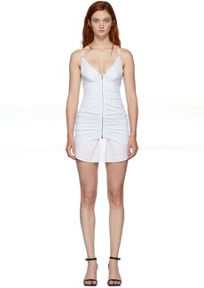 Alexander Wang White & Blue Ruched Dress