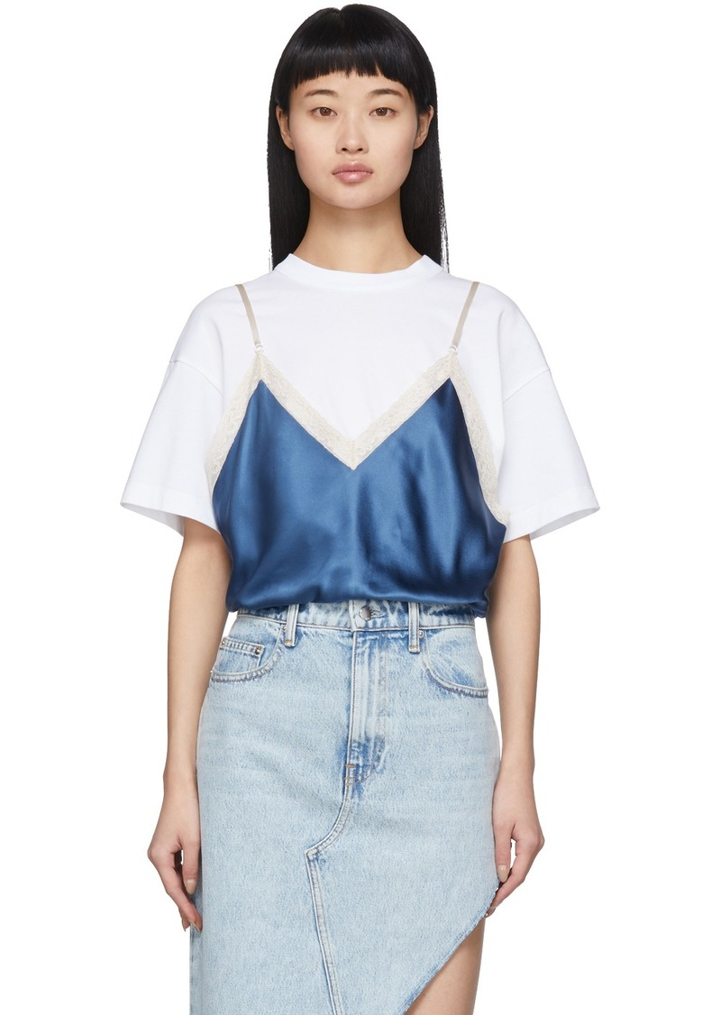 Alexander Wang White & Blue Silk Camisole Overlay T-Shirt