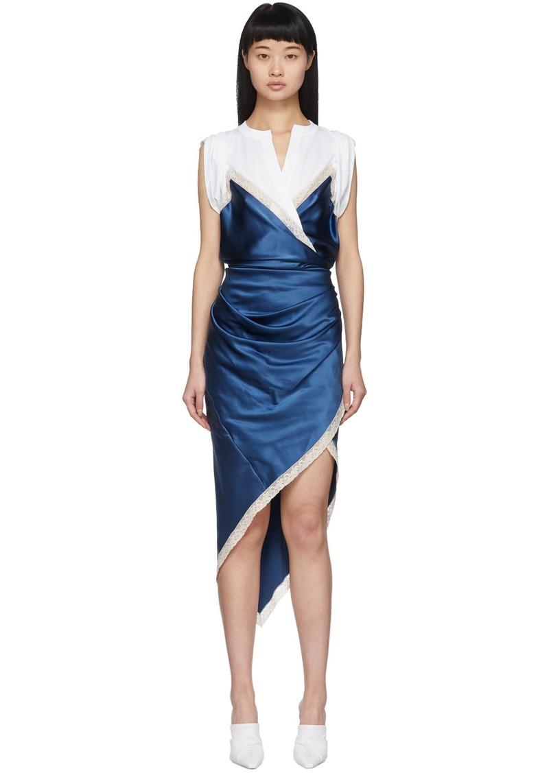 Alexander Wang White & Blue Silk Draped Slip Dress