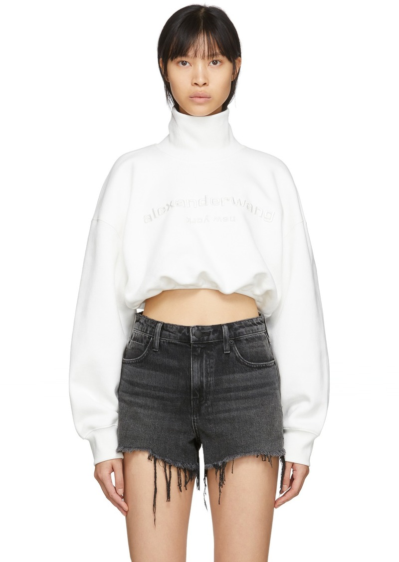 Alexander Wang White Cropped Logo Turtleneck