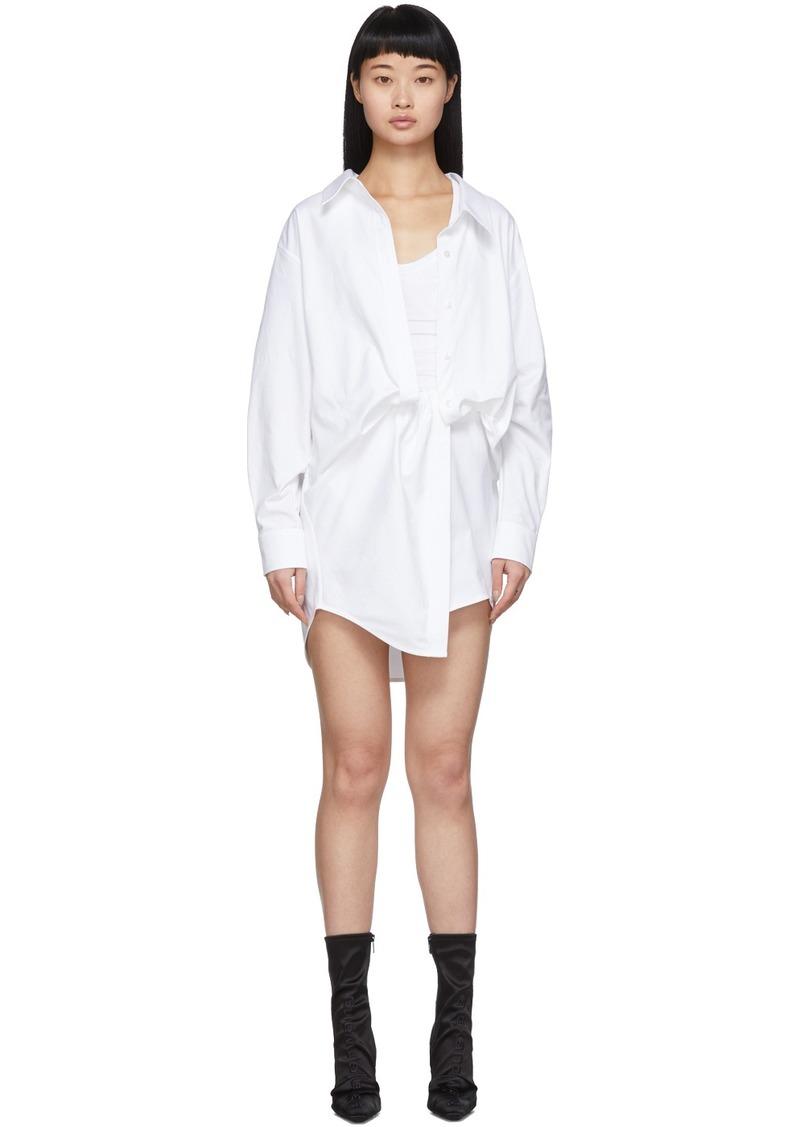 Alexander Wang White Falling Twist Shirt Dress