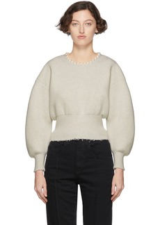 Alexander Wang White Wool Pearl Necklace Pullover