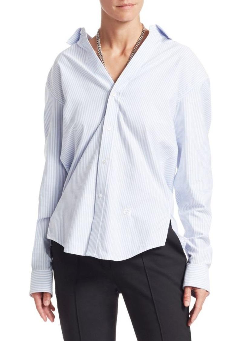 Alexander Wang Wide Open Neck Striped Shirt