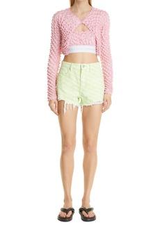 Women's Alexander Wang Bite Logo Distressed Cutoff Denim Shorts