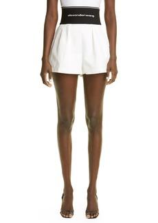 Women's Alexander Wang Logo Waist Pleated Safari Shorts