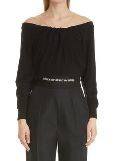 Women's Alexander Wang Sheer Shoulder Wool & Cashmere Blend Sweater