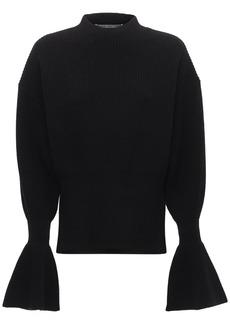 Alexander Wang Wool Blend Knit Sweater W/flared Cuffs