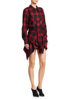 Alexander Wang Wool Tie-Front Check Shirt Dress