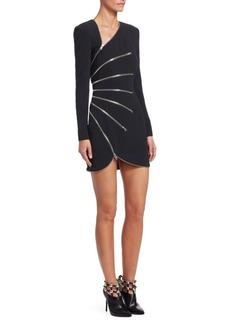 Alexander Wang Zip-Detail Long-Sleeve Mini Dress