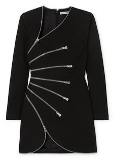 Alexander Wang Zip-detailed Cotton-blend Crepe Mini Dress