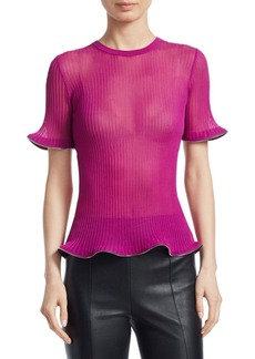 Alexander Wang Zip Hem Ribbed Tee