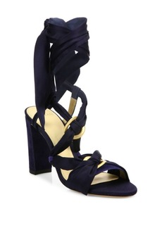 Alexandre Birman Alessa Silk & Suede Ankle-Wrap Sandals